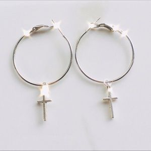Hypoallergenic hoop cross earrings